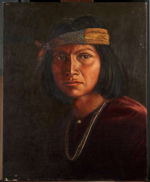 Cha-ah-din-'ie Navaho (oil on canvas mounted on panel)