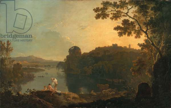 River scene: bathers and cattle, c.1763-65 (oil on canvas)
