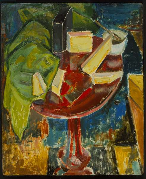 Red Table Top Still Life, c.1919 (recto of 372405) (oil on gessoed board)