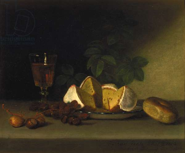 Still Life with Wine, Cake, and Nuts, 1819 (oil on panel)