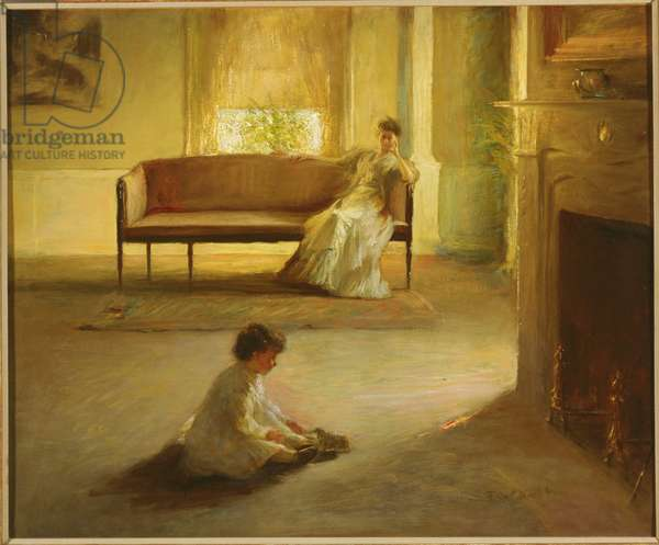 Interior with Mother and Child (oil on canvas)