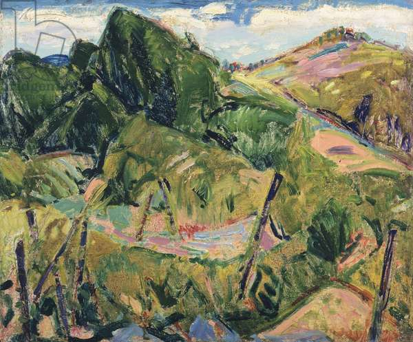 Landscape, c.1916 (verso of 327404) (oil on gessoed board)