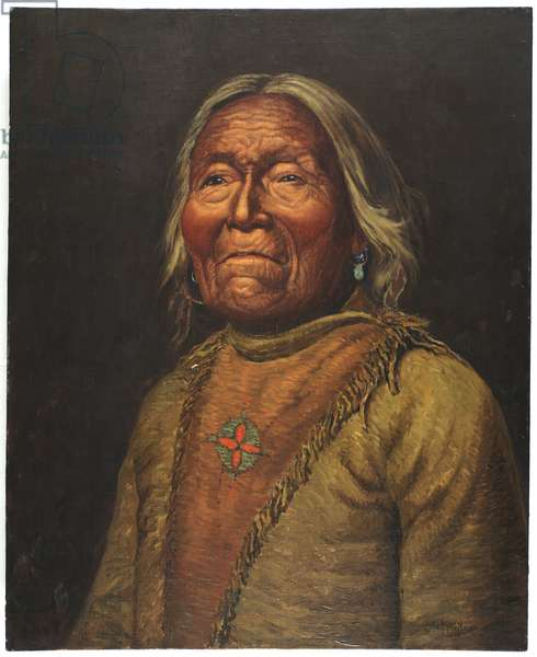 Nar-Ah-Kee Gie Etsu, Old Apache Scout (oil on canvas)