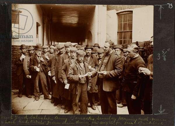Courtyard, Salvation Army barracks Sunday morning, London, 1902 (b/w photo)