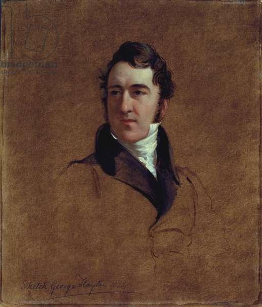 Portrait sketch of John Poulter, 1834 (oil on millboard)
