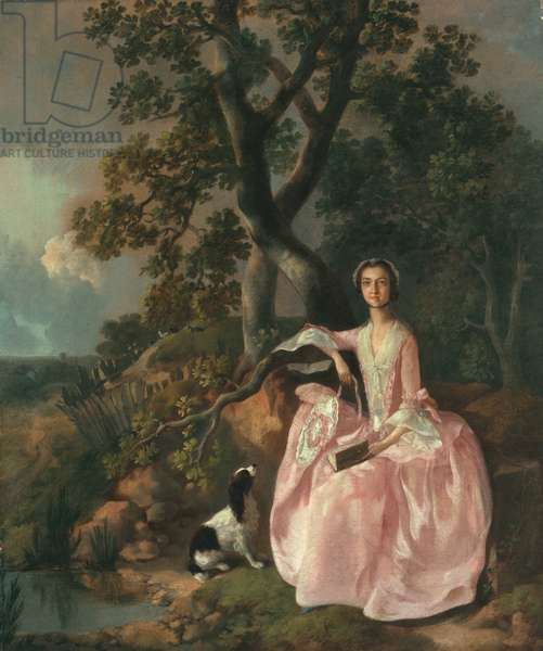 Woman with a spaniel, c.1749 (oil on canvas)