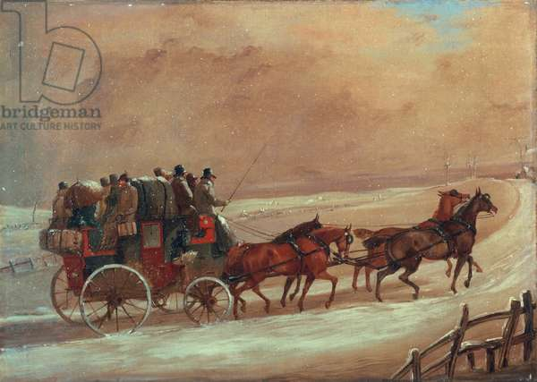Manchester - London Coach in Winter, c.early 19th century (oil on canvas)