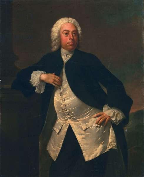 Man in a white silk waistcoat, c.1745-50 (oil on canvas)