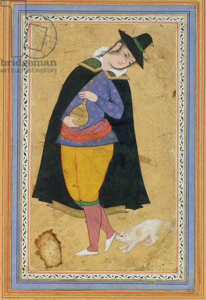 Miniature of a young man in European costume holding a gold carafe, Safavid Dynasty, (w/c, ink and gold on paper)