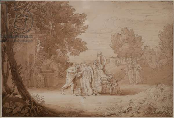 Rebecca at the Well, 1807 (pen & ink on paper)