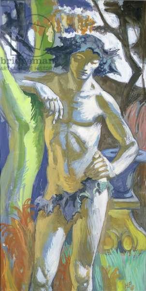 Bacchus in forest, 1968 (gouache on board)