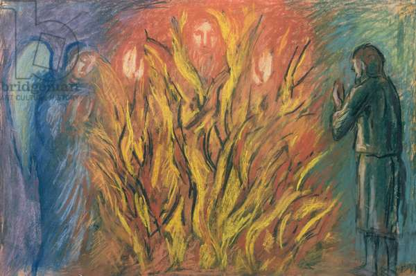 Moses & the burning bush, 1990 (charcoal & pastel on paper)