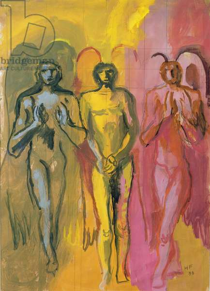 Study of Angels, 1988 (gouache on board)