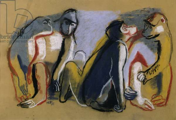 A group of apes, 1935 (chalk & pastel on paper)