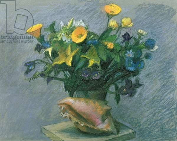 Conch & Flowers, 1989 (pastel & chalk on paper)