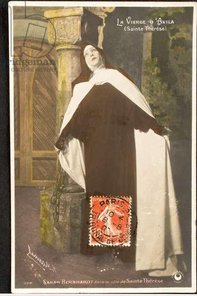 Old postcard/Sarah Bernhardt as Saint Therese d'Avila/Actress