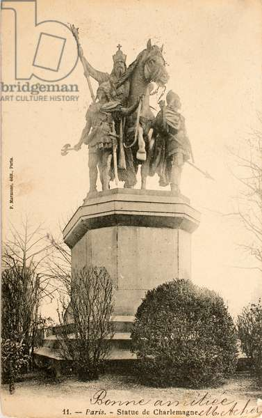 Postcard/Statue of Charlemagne/Paris/Seine/Ile de France/France