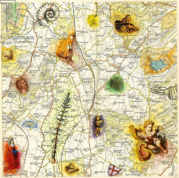 Latitude, Longitude 3, 2013 (collage and mixed media on Ordnance Survey map)