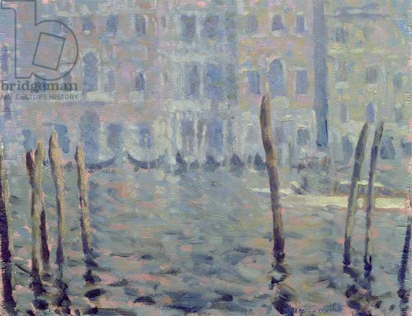 Study for Misty Morning, Grand Canal (oil on board)