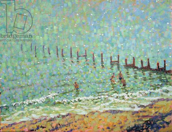 The Sea at Southwold, Hot June Day (oil on canvas)
