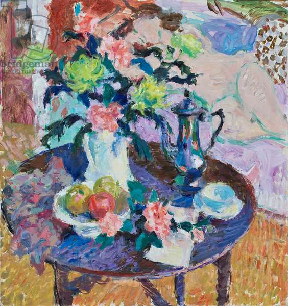 Still Life with Chrysanthemums , Roses & Coffee Pot III, 2010 (oil on canvas)