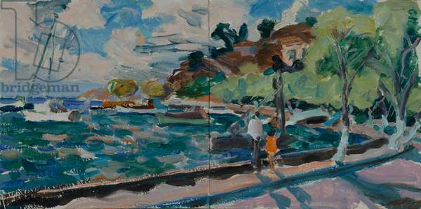 The Harbour - Breezy Afternoon, 2015 (oil on board)