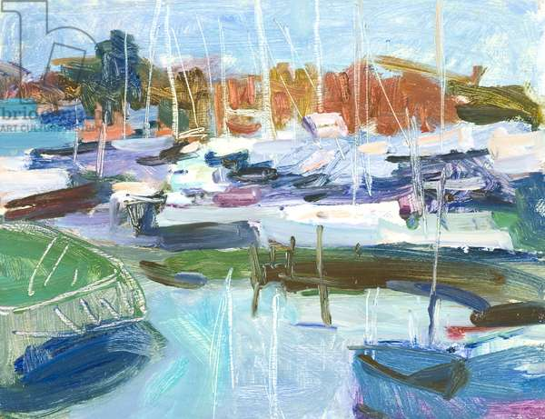 Suffolk Boatyard (oil on paper on board)
