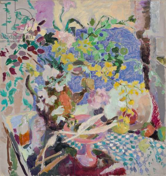 Still Life with Flowers, Quills & Chequered Cloth, 2010 (oil on canvas)