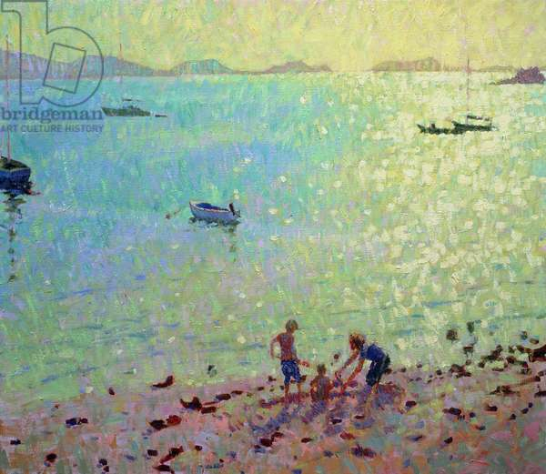 Children on the Beach, Early Morning Light (oil on canvas)