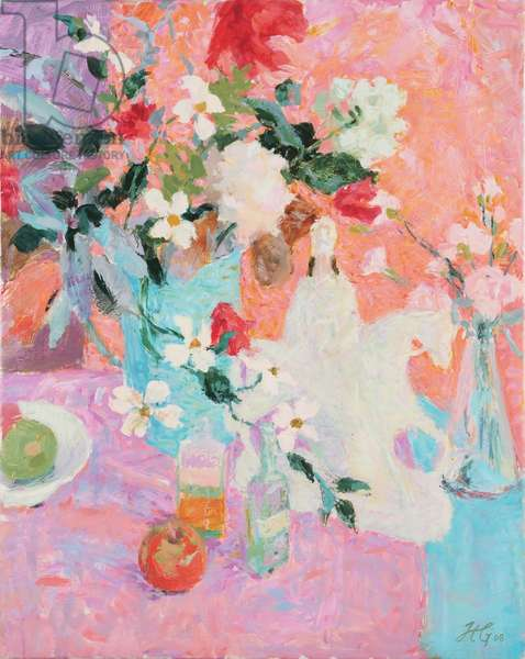 Blue, Violet and Pink: Still Life with Anenomes and Equestrian Figure (oil on canvas)