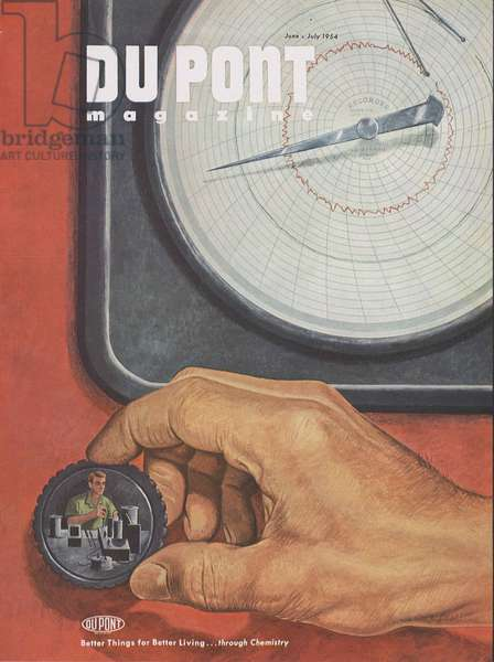 Chemical watchdogs, front cover of the 'DuPont Magazine', June-July 1954 (colour litho)