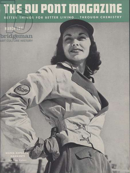 Water-repellent Garments, front cover of 'The Du Pont Magazine', March 1941 (colour litho)