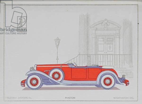DuPont Motor Cars: Phaeton, 1921 (colour litho)