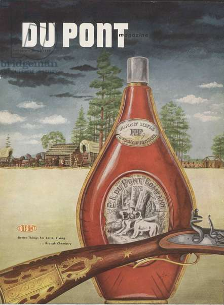 DuPont rifle, front cover of the 'DuPont Magazine', February-March 1952 (colour litho)