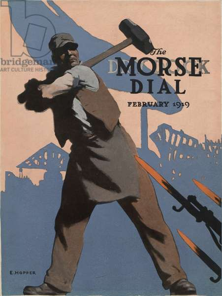 American Shipbuilder, front cover of the 'Morse Dry Dock Dial', February 1919 (colour litho)