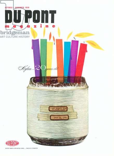 Nylon, front cover of 'The Du Pont Magazine', October-November 1958 (colour litho)