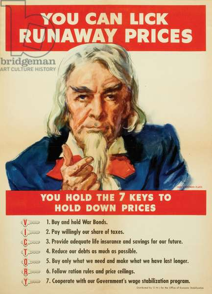 'You Can Lick Runaway Prices', advertisement for the Office of Economic Stabilization, c.1942 (colour litho)