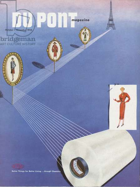 Fashion, front cover of the 'DuPont Magazine', October-November 1952 (colour litho)