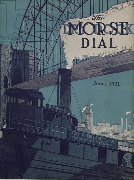 Tug E.P. Morse on Salvaging Cruise, front cover of the 'Morse Dry Dock Dial', June 1921 (colour litho)