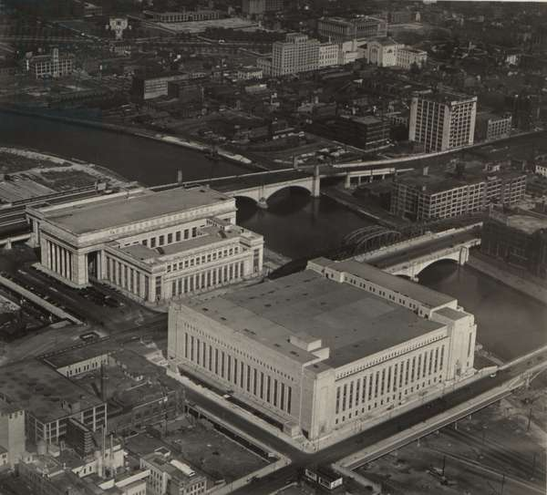 30th Street Station and the New Post Office, 28th September 1934 (b/w photo)
