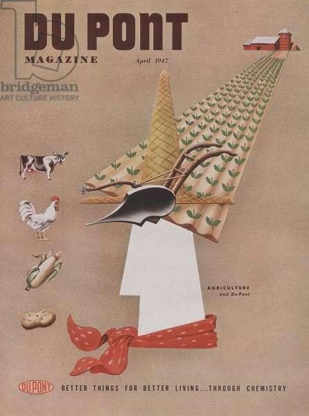 Agriculture and Du Pont, front cover of 'The Du Pont Magazine', April 1947 (colour litho)