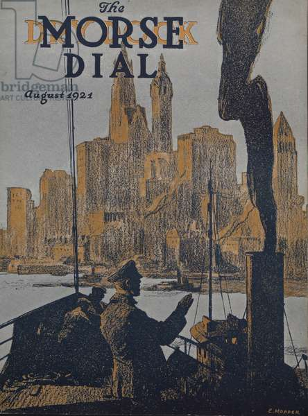 Ship approaching land, front cover of the 'Morse Dry Dock Dial', August 1921 (colour litho)