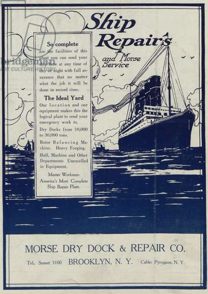 Advertisement for ship repairs and service, from the 'Morse Dry Dock Dial', July 1922 (colour litho)