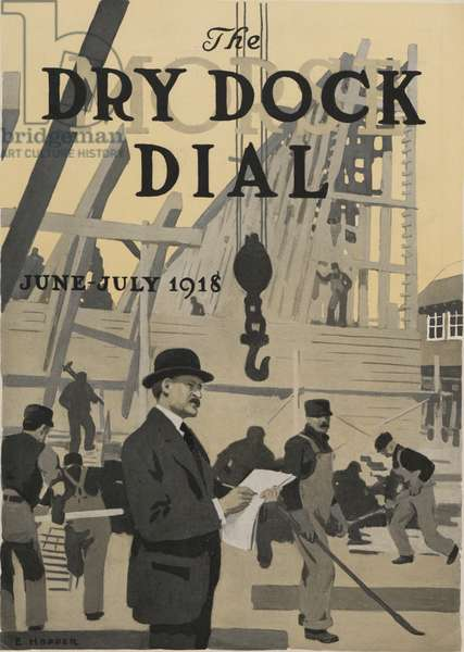 Our New Dry Dock, front cover of the 'Morse Dry Dock Dial', June-July 1918 (colour litho)