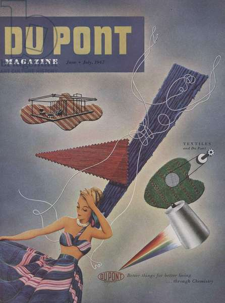 Textiles and Du Pont, front cover of 'The Du Pont Magazine', June-July 1947 (colour litho)