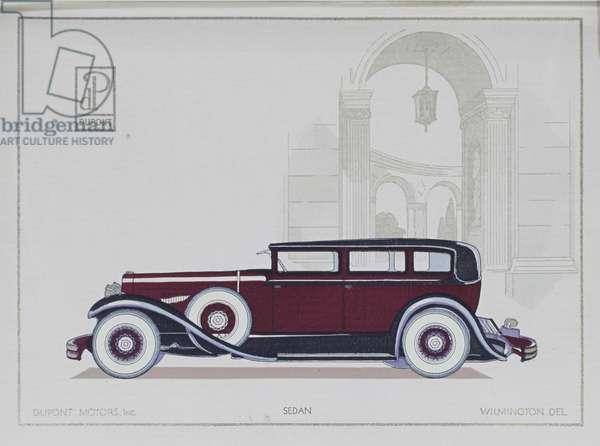 DuPont Motor Cars: Sedan, 1921 (colour litho)