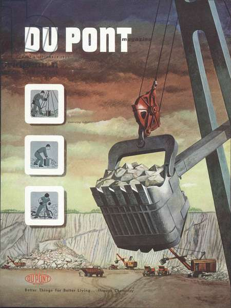 Quarrying industry, front cover of the 'DuPont Magazine', August-September 1951 (colour litho)