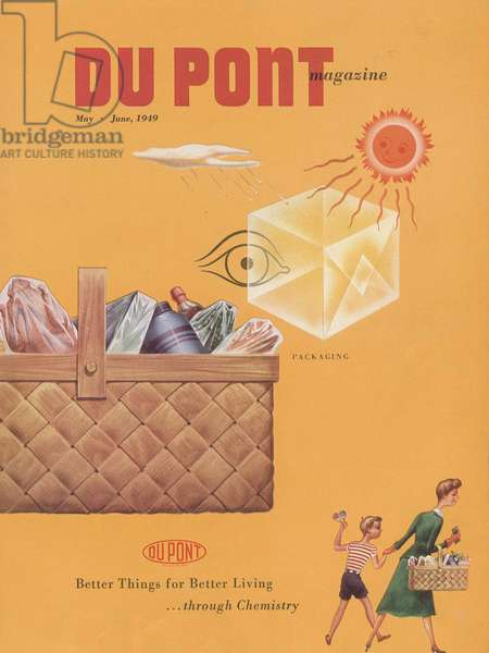 Packaging, front cover of 'The Du Pont Magazine', May-June 1949 (colour litho)