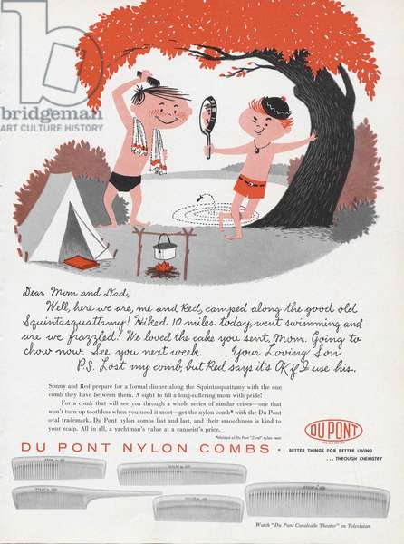 Advertisement for DuPont Nylon Combs, page from 'The Du Pont Magazine', 1956 (colour litho)