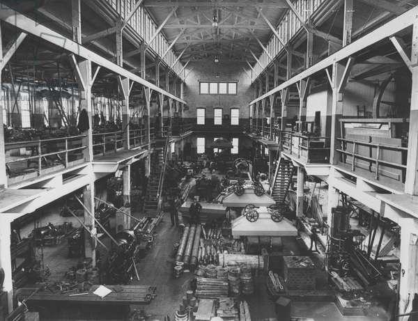 Interior view of new machine shop in Hagley Yard, 1905 (b/w photo)